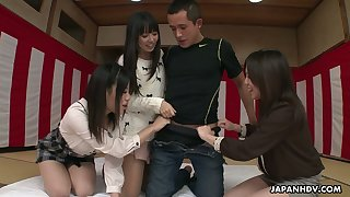 Three Japanese girls gives a blowjob to several horny dude with an increment of get their pussies creampied