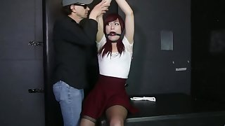 Crossdresser bounce with an increment of ring gagged