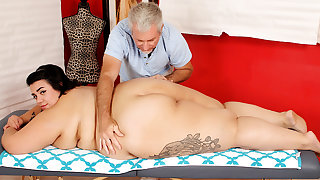 Massaging Young Fatty Mia Riley and Stimulating Their way give Two Toys at Previous