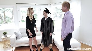 MILF stepmom fucks stepson after his graduation and that unsubtle is smashing as hell