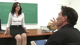 Adverse teacher engaging in a class gangbang