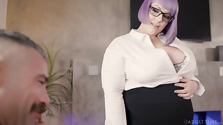 Female brass hat Alexxxis Allure turns her willing employee into her sex slave