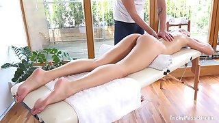 Amateur fucking beyond everything the massage table beside good looking Karolina