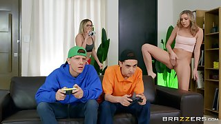 Gamer boys end up fucking some brand-new pussy
