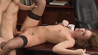Secretary gets the learn of in the pussy and sperm on her small jugs