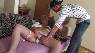 Dirty granny loves having a younger dick in her old love tube