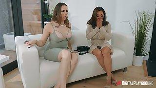 Lesbian sex overhead the sofa with Chanel Preston and Kaylani Lei