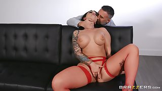 Erotic fantasy for the busty brunette with different pauper