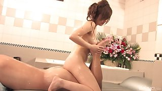 Japanese with big tits, soapy massage and oral sex