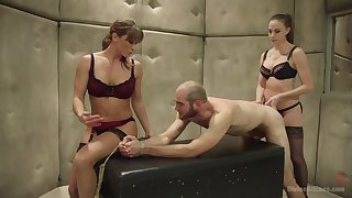 Helpless dude gets peentrated apart from Chanel Preston and Ariel X