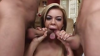 Gia Paloma is a gigantic boobed blond who luvs to have three-ways with 2 men
