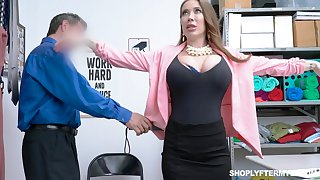 Giant breasted slutty MILF Bianca Burke is doubled and fucked doggy apart from cop