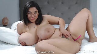 Gloominess with ample assets, Creolyta is enervating only glasses while masturbating with a sex toy