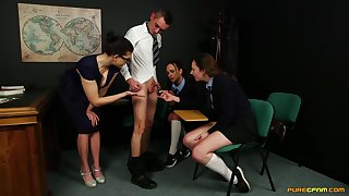 Tindra Frost with an increment of her girlfriends are adept at sucking cock