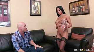 Provocative cougar Jewellery Jade in stockings riding a log schlong