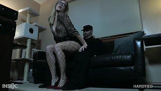 Blonde in glasses Katie Kush gets punished illiterate BDSM room