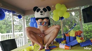 Guy all round huge panda bear costume ass fucks premium birthday MILF