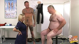 Fat dude with a small dick watches Victoria Summers blowing possibility guy