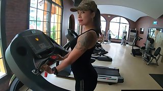 Amateur gym workout in advance sex on camera