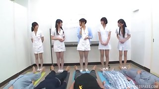 Kinky Japanese video be fitting of horny babes giving head increased by riding cocks